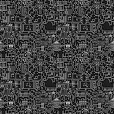 Music Dark Line Seamless Pattern