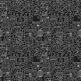 Music Dark Line Seamless Pattern