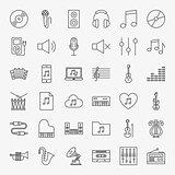 Music Line Icons Set
