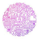 Music Line Icon Circle Design