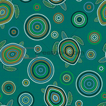 Australian Aboriginal Art. Sea turtles. Seamless pattern. Background green