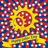Labor Day in the United States. 3 September. Gears, tape with text - event name. Red and blue rays from the center, white stars.