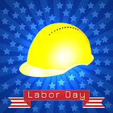 Labor Day in the United States. 3 September. Construction helmet, tape with text - event name. Blue rays, stars.
