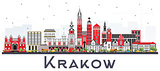 Krakow Poland City Skyline with Color Buildings Isolated on Whit