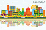 Luanda Angola Skyline with Color Buildings, Blue Sky and Reflect