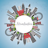 Manchester England City Skyline with Gray Buildings, Blue Sky an