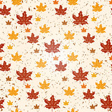 Seamless pattern of autumn leaves. Vector illustration of maple leaves