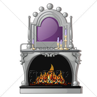Vintage fireplace and a purple candle in a candlestick isolated on a white background. Vector cartoon close-up illustration.