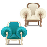 Two chairs with soft armrests. Vector illustration.