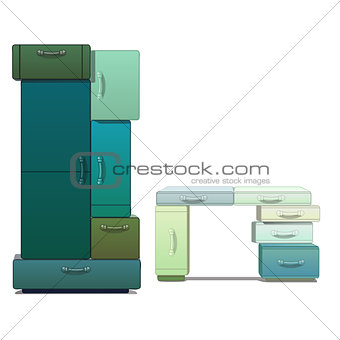 The wardrobe and Desk consists of modules isolated on a white background. Vector cartoon close-up illustration.