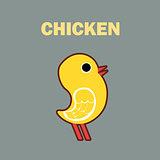 Domestic bird chicken simple