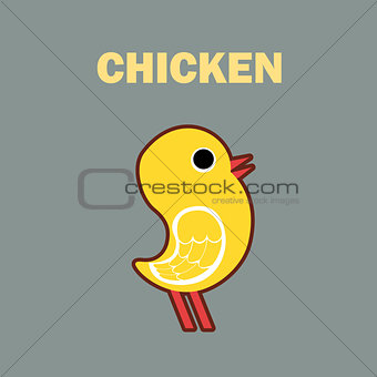 Domestic bird chicken simple