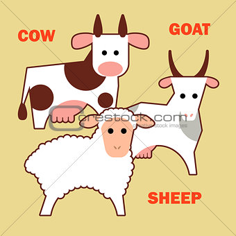 Farm animals cow, sheep and goat simple