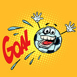 goal happy fan. Football soccer ball. Funny character