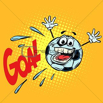 goal happy fan. Football soccer ball. Funny character