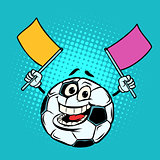 Fan with flags. Football soccer ball. Funny character