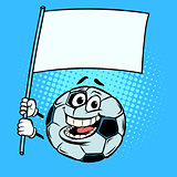 National flag form template. Football soccer ball. Funny charact