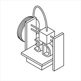 Isometric 3D Printer. Outline Icon. Vector Illustration.