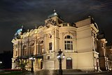 Theater in Cracow at night