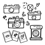 Set of handdrawn retro photo cameras illustrutions. Vintage photo cameras icons