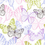 Decorative seamless pattern with butterflies