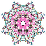 Abstract colorful round oriental ornament.