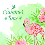 Green watercolor background with flamingo