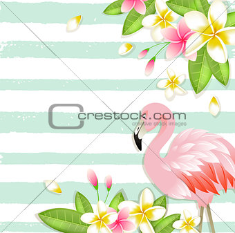Tropical background with flowers and flamingo