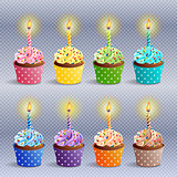 Birthday cupcakes icons