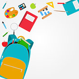 Bag, backpack icon with school accessories. Vector Illustration