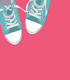Pair of shoes on color background Vector Illustration
