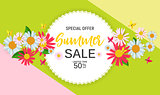 Abstract Flower Summer Sale Background with Frame. Vector Illustration