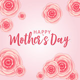 Happy Mother's day greeting card with Paper Origami Flowers background. Vector Illustration