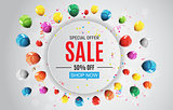 Abstract Designs Sale Banner with Balloons. Vector Illustration