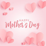 Happy Mother's day greeting card with Paper Origami Hearts background. Vector Illustration