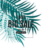 Abstract Tropical Summer Sale Background with Palm Leaves. Vector Illustration