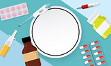 Health Medical  Background with Frame. Vector Illustration