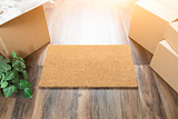 Blank Welcome Mat, Moving Boxes and Plant on Hard Wood Floors