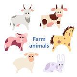 Set of farm animals white