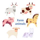 Set of farm animals white