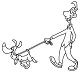 Outlined man walking dog