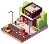 Vector isometric copy and print shop