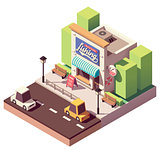 Vector isometric fishing gear and tackle shop