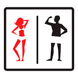 Male and female icons isolated on white background. Stylish toilet WC signs. Vector illustration.