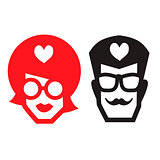 Male and female icons isolated on white background. Stylish hipster toilet WC signs. Vector illustration.