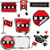 Glossy icons with flag of Amsterdam, Netherlands