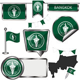 Glossy icons with flag of Bangkok