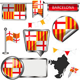 Glossy icons with flag of Barcelona
