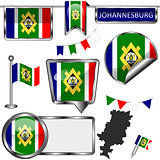 Glossy icons with flag of Johannesburg, South Africa