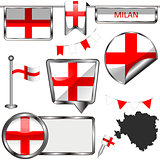 Glossy icons with flag of Milan